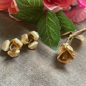 Vintage gold filled Giovanni pin and earrings